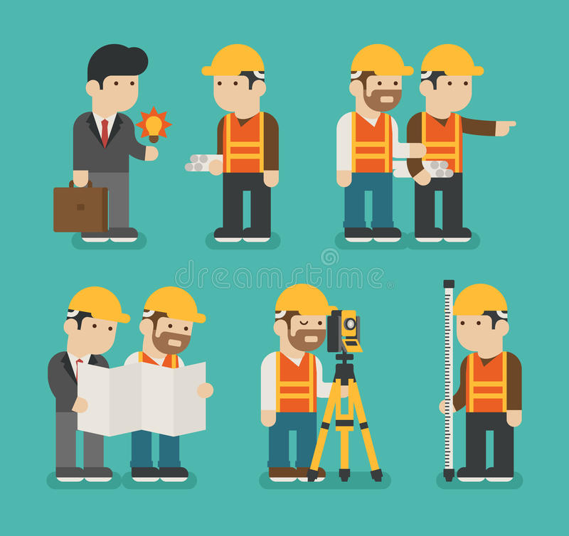 Ensemble de travailleur de la construction illustration stock