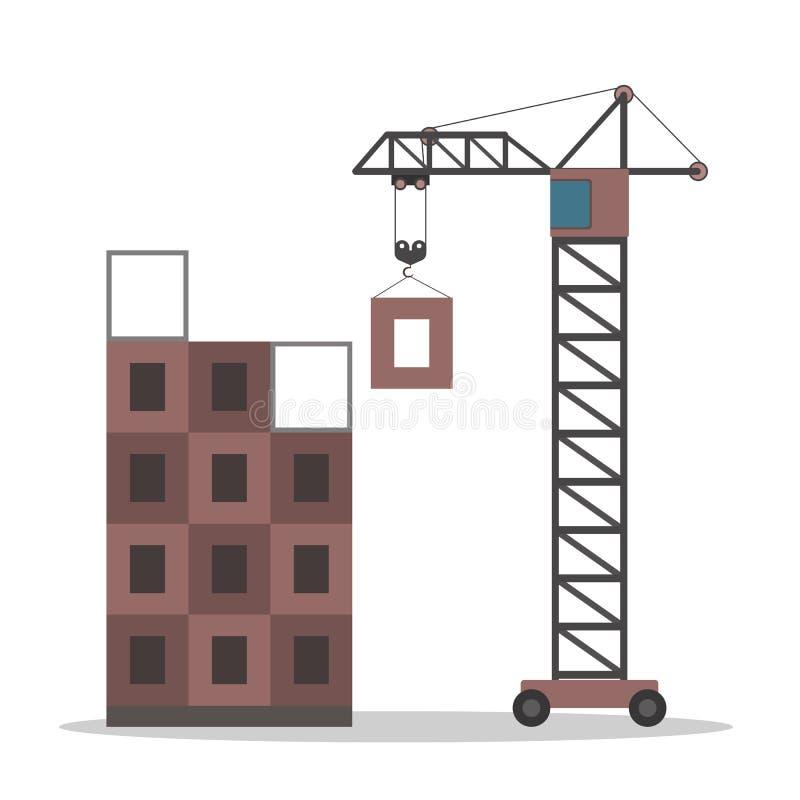 Ensemble de travaux de construction Processus de la construction de logements illustration libre de droits