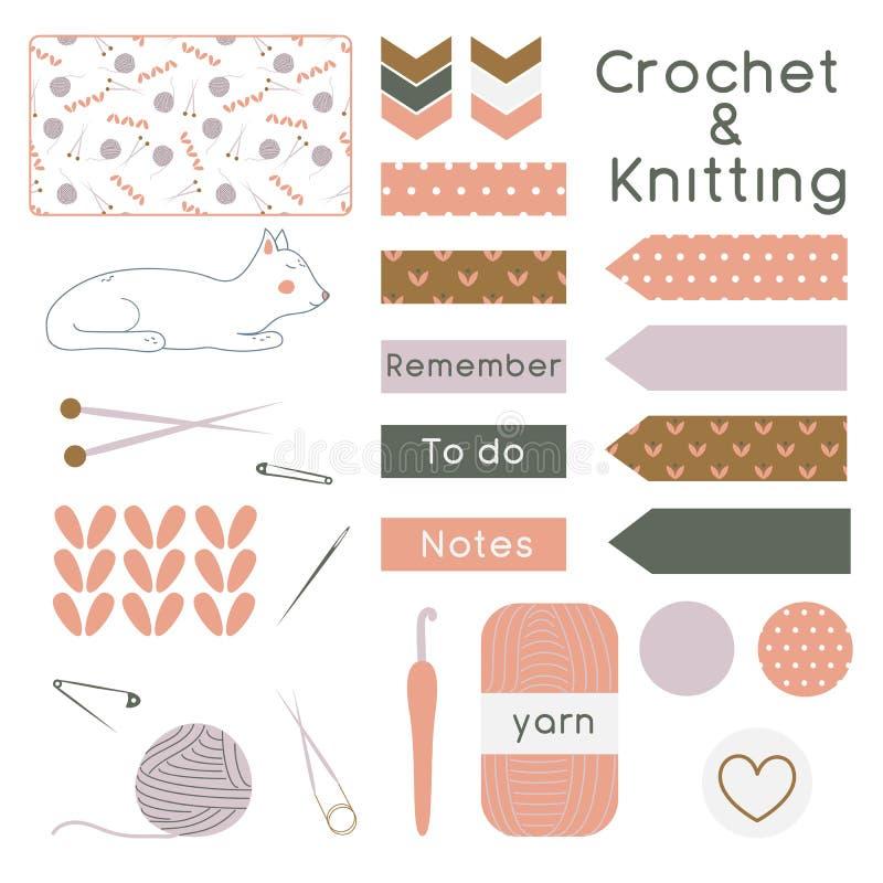 Ensemble de tricotage et outils et instruments de crochet avec le planificateur E illustration libre de droits