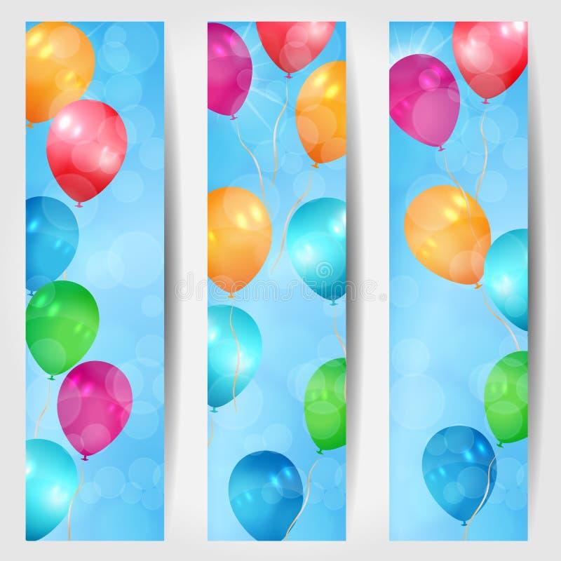 Ensemble de trois bannières de Web avec des ballons volant dans t illustration stock