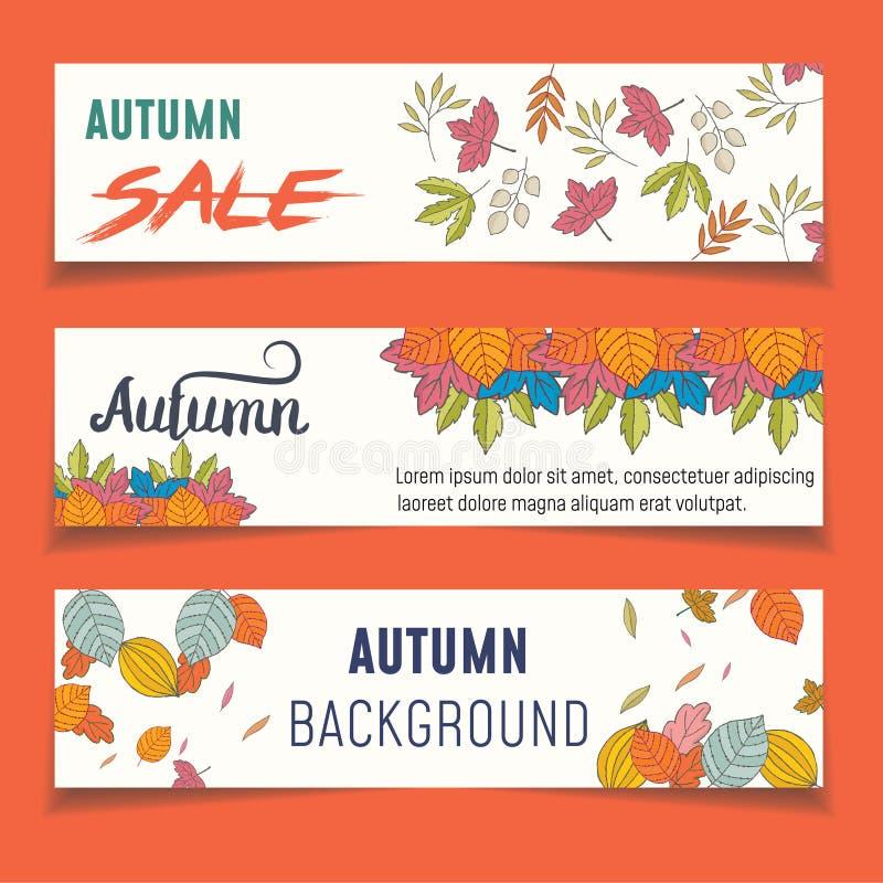 Ensemble de trois bannières de nature avec les feuilles d'automne colorées Vecteur illustration de vecteur