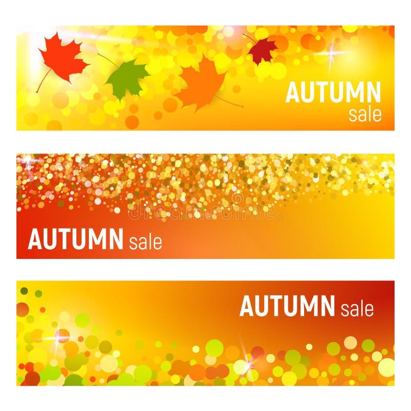 Ensemble de trois bannières de vecteur avec les feuilles d'automne colorées et de cercles sur un fond orange Bannières d'automne  illustration de vecteur