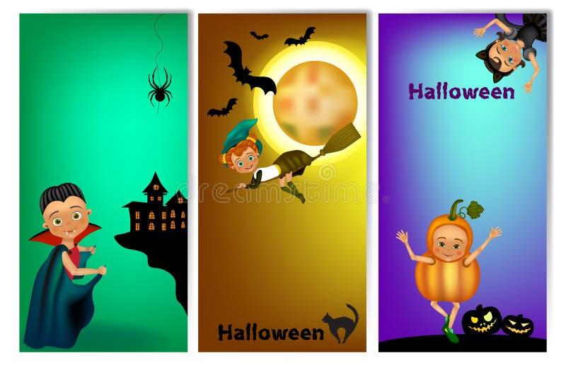 Ensemble de trois bannières verticales de Halloween avec les enfants mignons dans le costume Calibre de bannière de Halloween ave illustration stock