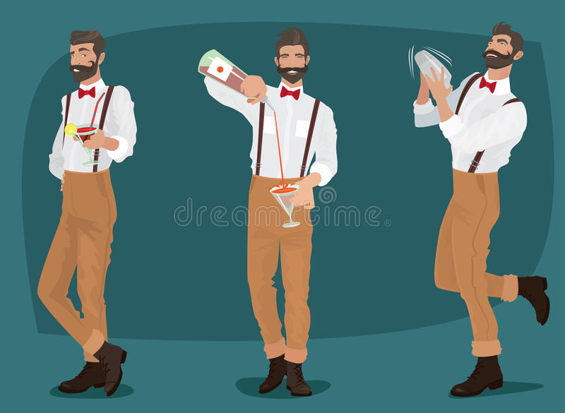 Ensemble de trois barmans moustachus de hippie illustration stock