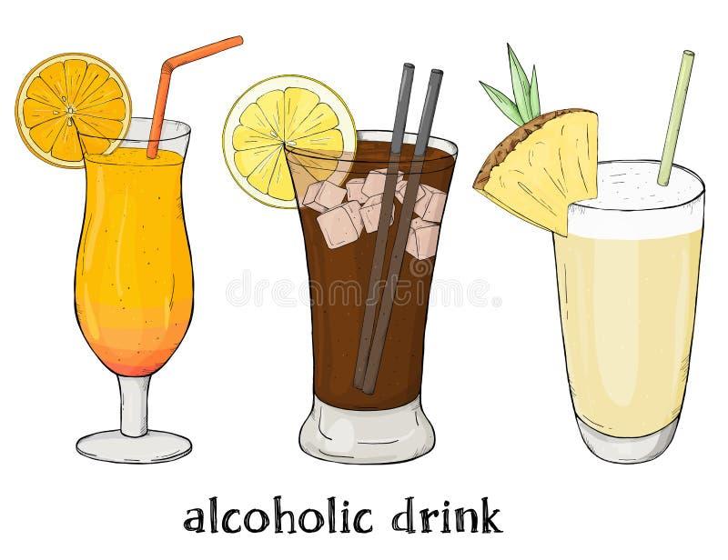 Ensemble de trois boissons régénératrices d'été E Illustration colorée de vecteur dans le style de croquis illustration libre de droits