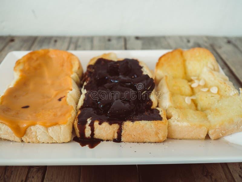 Ensemble de trois bonbons de pains grillés photos stock