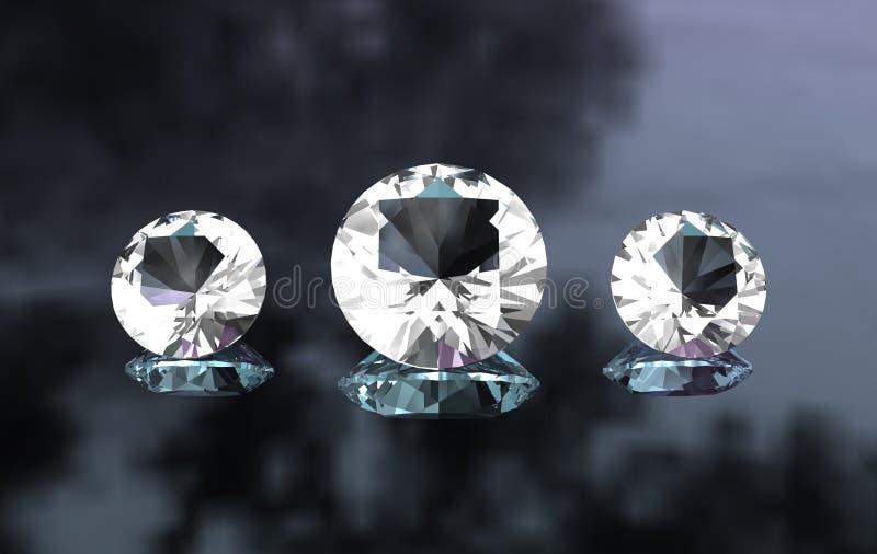 Ensemble de trois diamants ronds sur la surface lustrée illustration stock