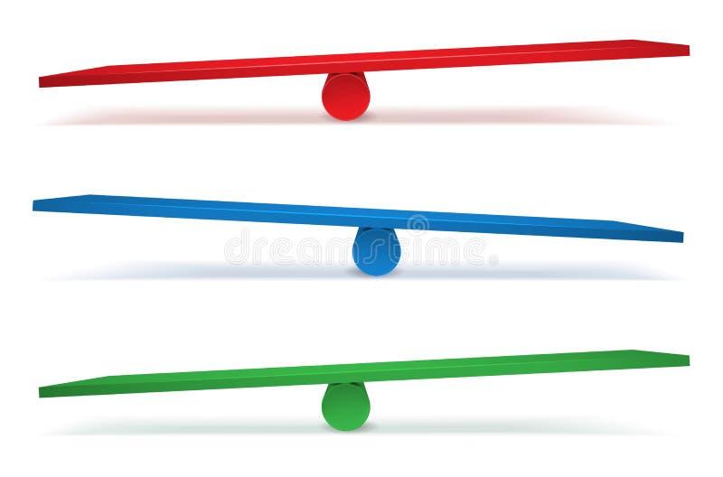 Ensemble de trois oscillations dans différentes couleurs illustration libre de droits