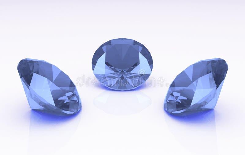 Ensemble de trois pierres rondes mauve-clair de topaz illustration stock