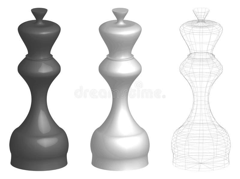 Ensemble de trois rois ou reines des échecs 3d illustration de vecteur
