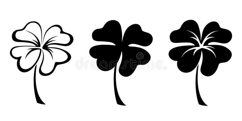 Ensemble de trois silhouettes noires de quatre trèfles de feuille Illustration de vecteur illustration de vecteur