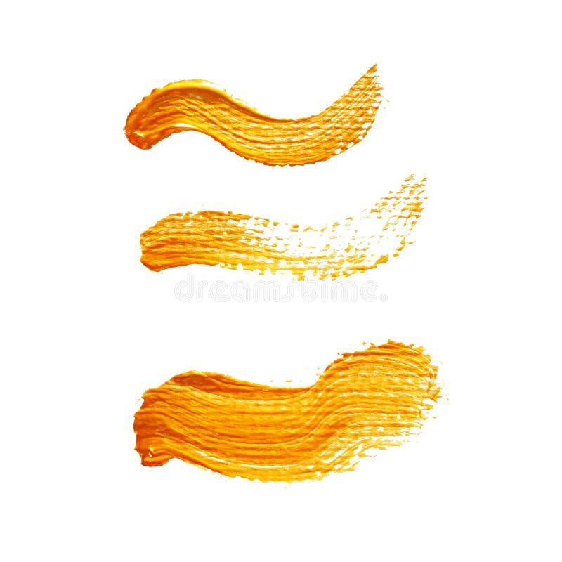 Ensemble de trois traçages acryliques jaunes illustration libre de droits