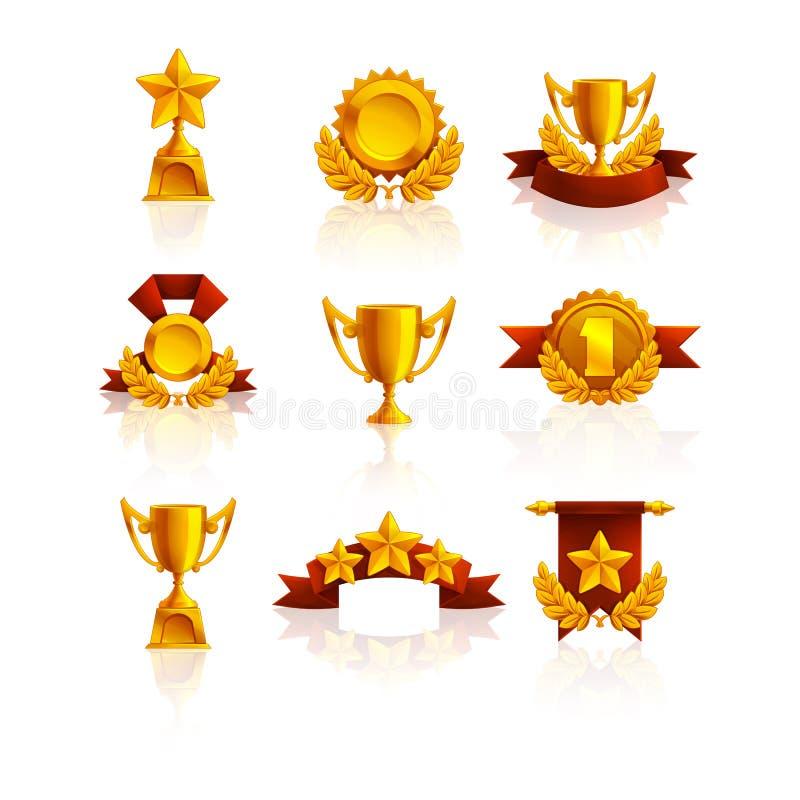 Ensemble de trophée, de médailles et de récompense illustration stock