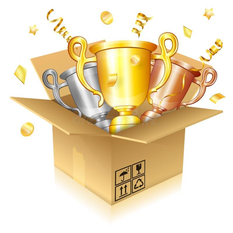 Ensemble de trophées d'or, d'argent et de bronze illustration de vecteur