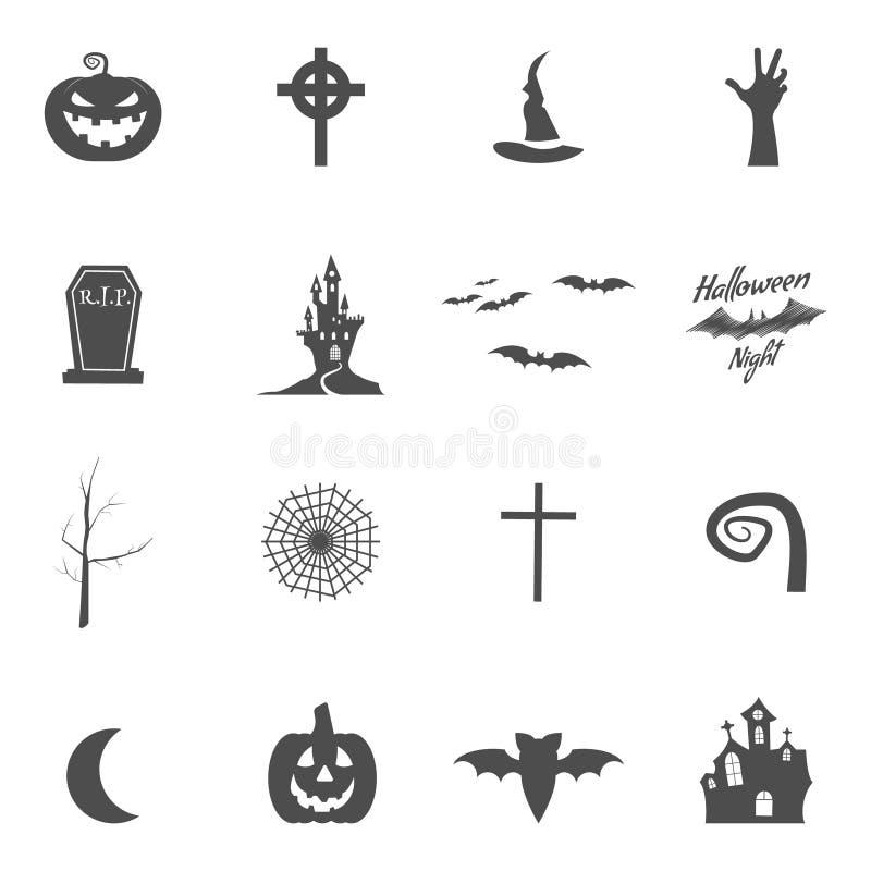 Ensemble de trousse à outils de création de conception de Halloween Isolat d'icônes Créateur de conception de vacances de silhoue illustration de vecteur