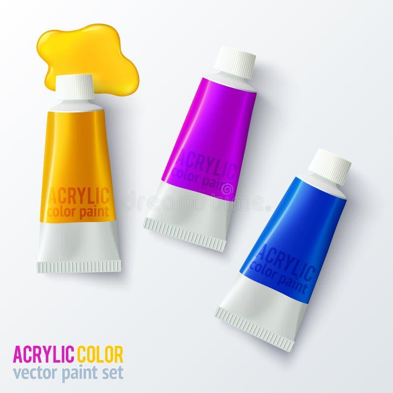 Ensemble de tubes colorés de peinture de vecteur illustration de vecteur