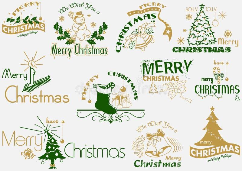 Ensemble de typographie de Joyeux Noël illustration libre de droits