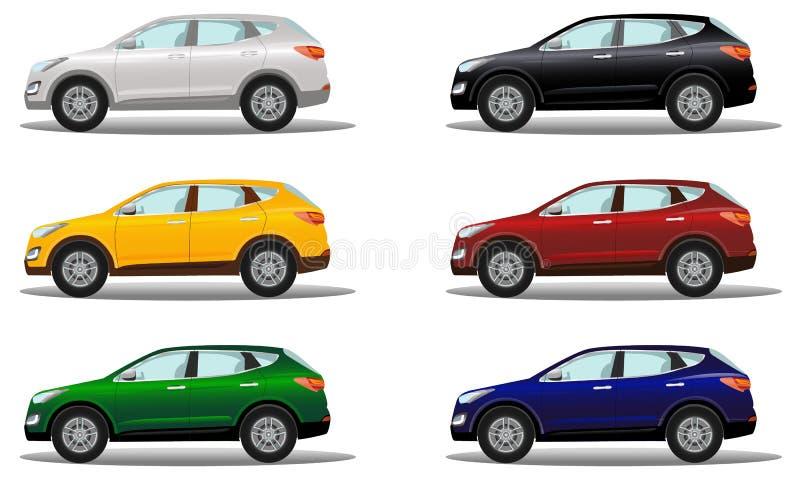 Ensemble de véhicules de luxe de croisement dans un grand choix de couleurs illustration stock