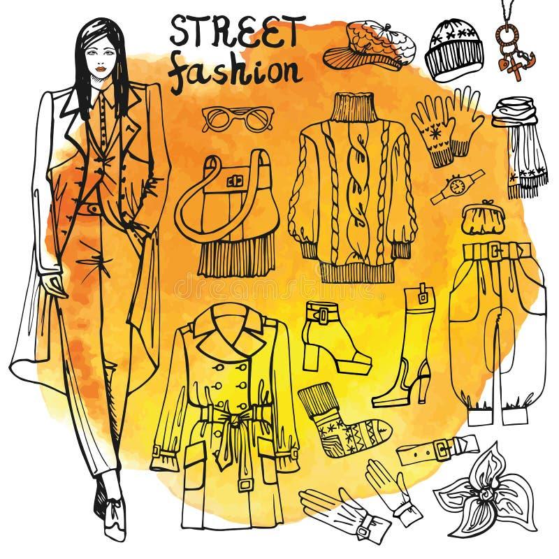 Ensemble de vêtements de mode de fille et de rue Peu précis dedans illustration libre de droits