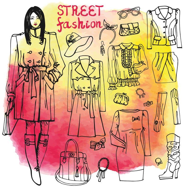 Ensemble de vêtements de mode de fille et de rue Peu précis dessus illustration libre de droits