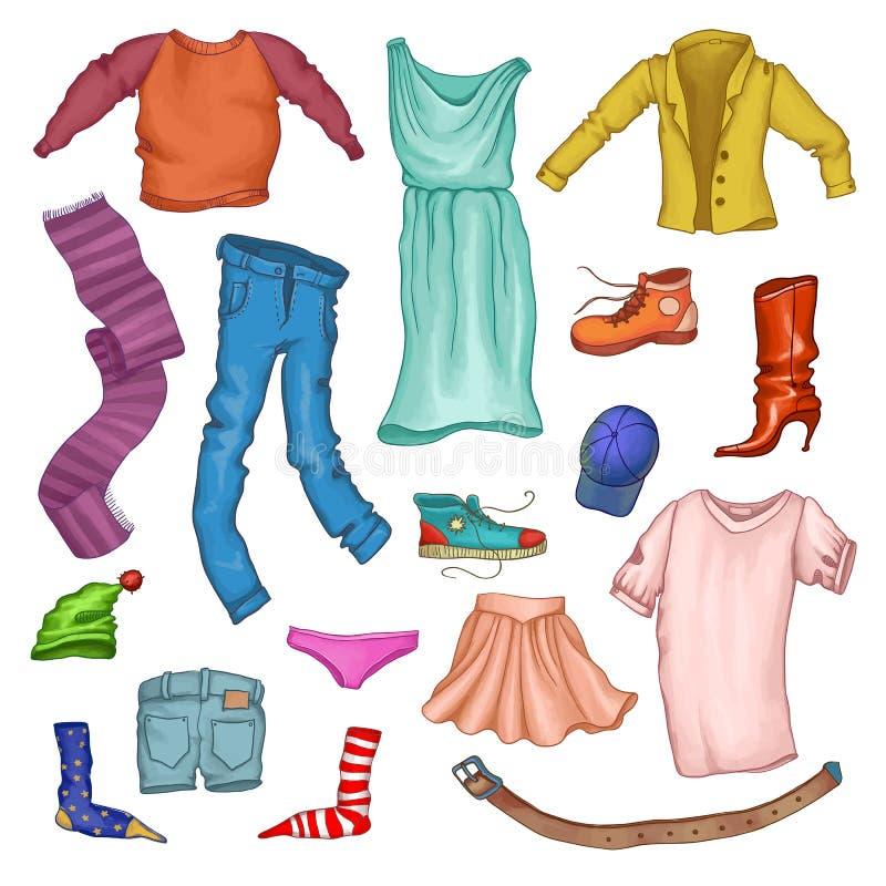 Ensemble de vêtements masculins et femelles de mode illustration stock