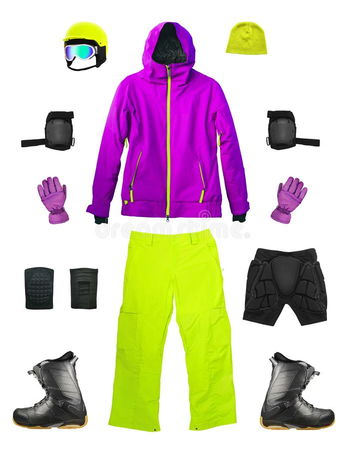 Ensemble de vêtements de ski de sport d'isolement photographie stock