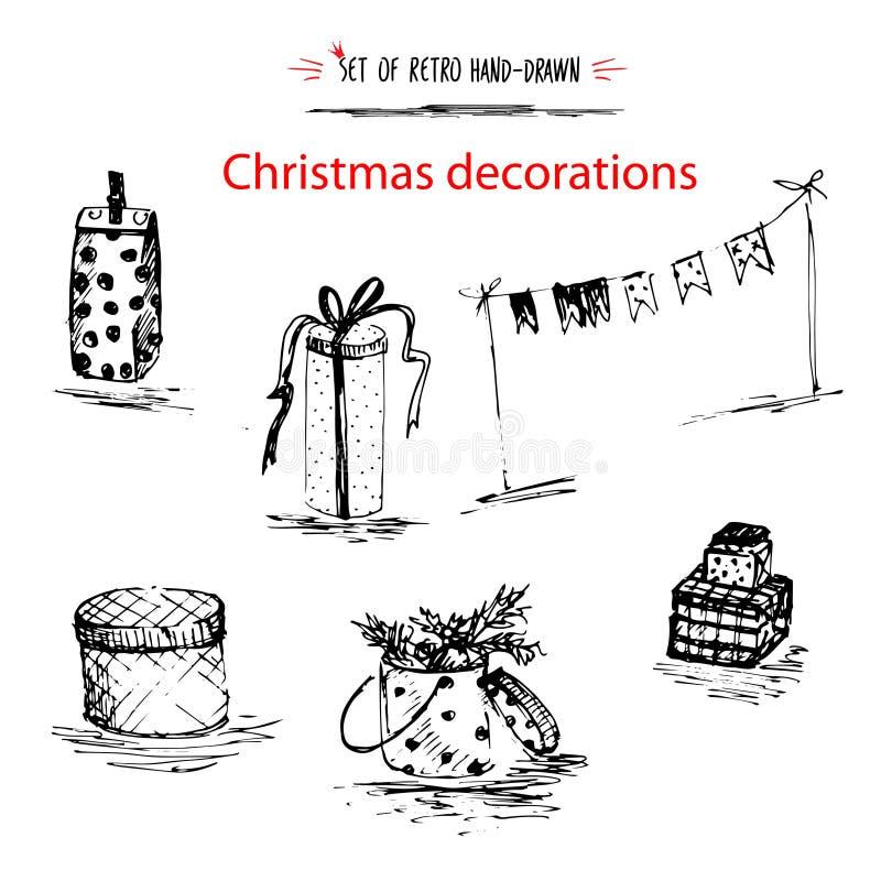 Ensemble de vacances d'hiver, style tiré par la main d'encre de croquis de décoration de Joyeux Noël d'isolement sur le fond blan illustration de vecteur
