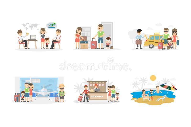 Ensemble de vacances de famille illustration de vecteur