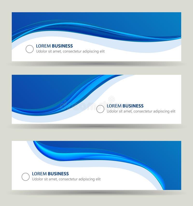 Ensemble de vague de bannière d'affaires, calibre de couverture de brochure de carte illustration libre de droits