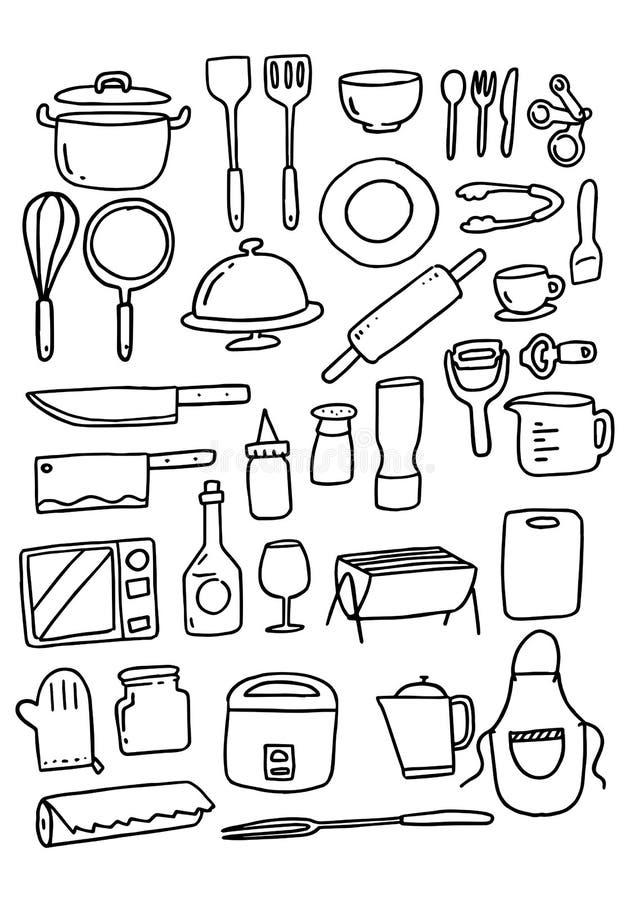 Ensemble de vaisselle de cuisine de griffonnage, vecteur illustration libre de droits