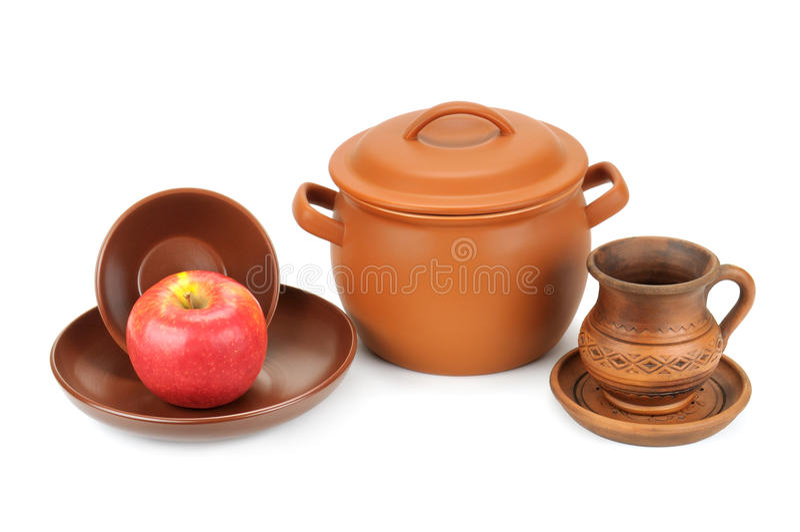 Ensemble de vaisselle de poterie de terre image stock