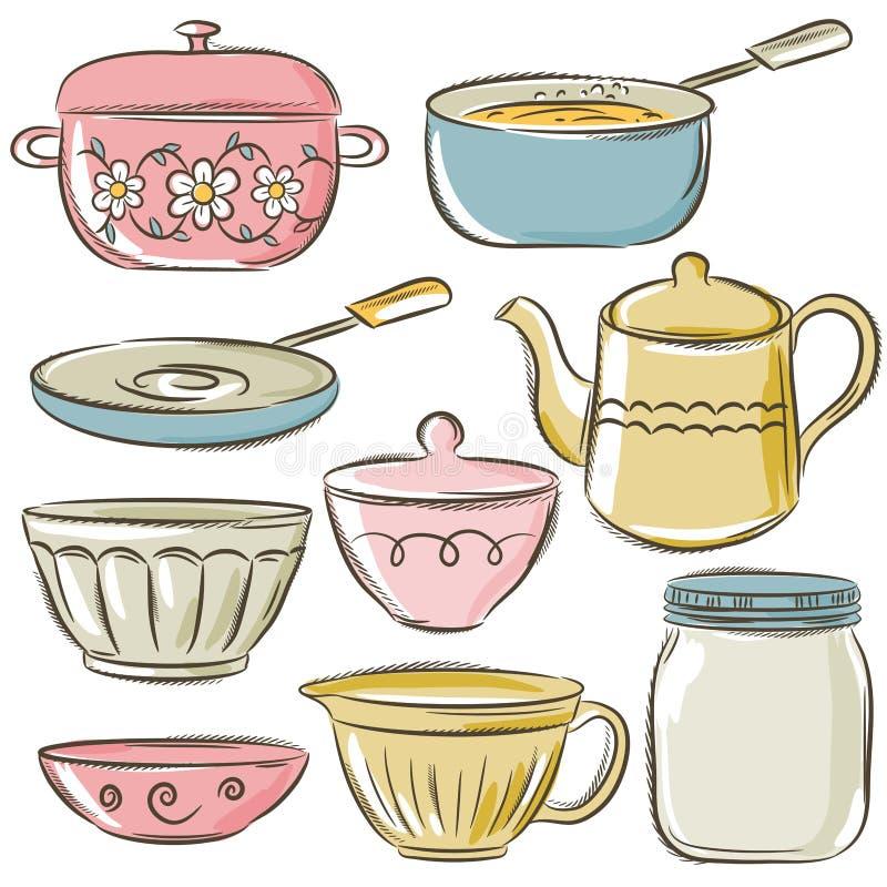 Ensemble de vaisselle différente illustration libre de droits