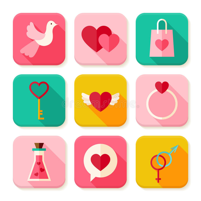 Ensemble de Valentine Day Square App Icons d'amour illustration libre de droits