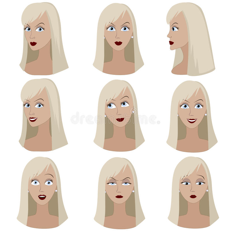 Ensemble de variation des émotions de la même femme avec les cheveux blonds illustration stock