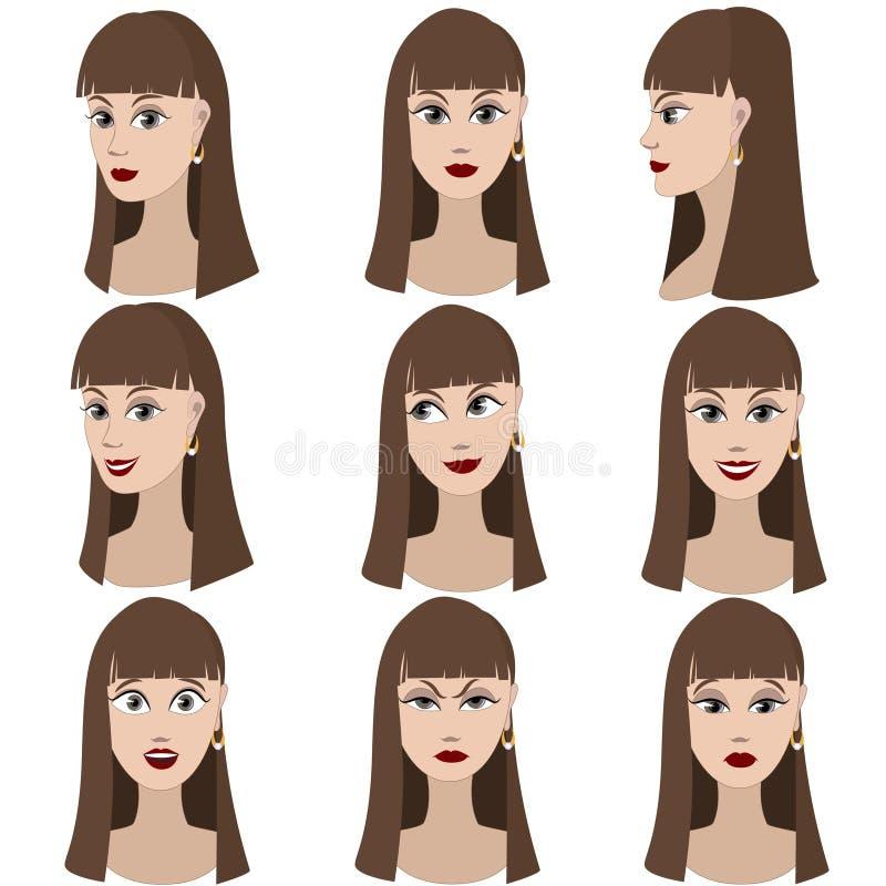 Ensemble de variation des émotions de la même fille illustration de vecteur