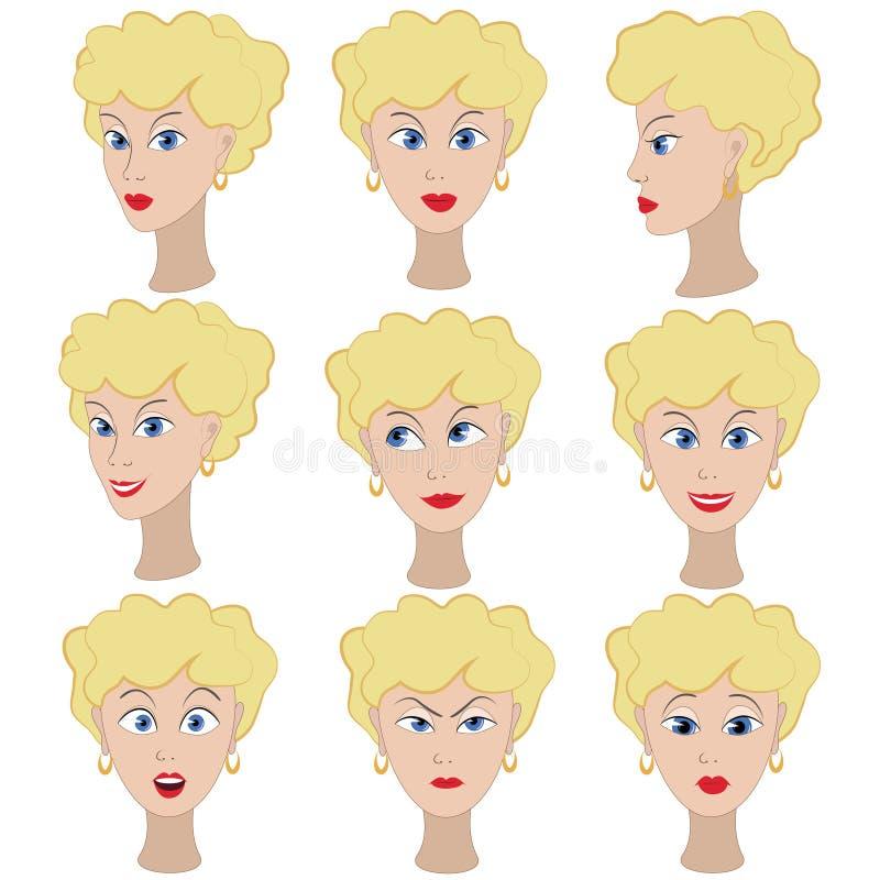 Ensemble de variation des émotions de la même fille avec les cheveux blonds illustration stock