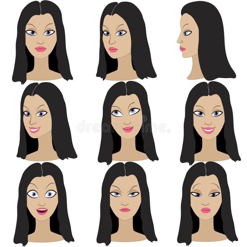 Ensemble de variation des émotions de la même fille avec les cheveux noirs illustration stock
