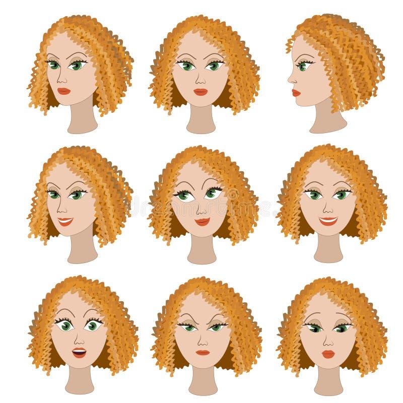 Ensemble de variation des émotions de la même fille avec les cheveux rouges illustration stock
