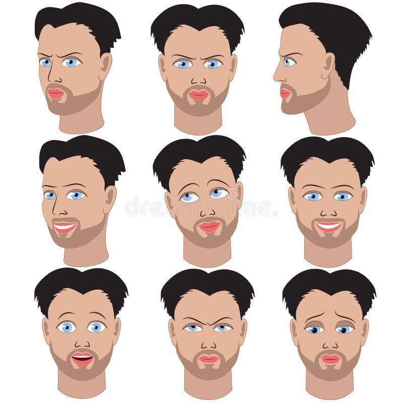 Ensemble de variation des émotions du même homme avec la barbe illustration stock