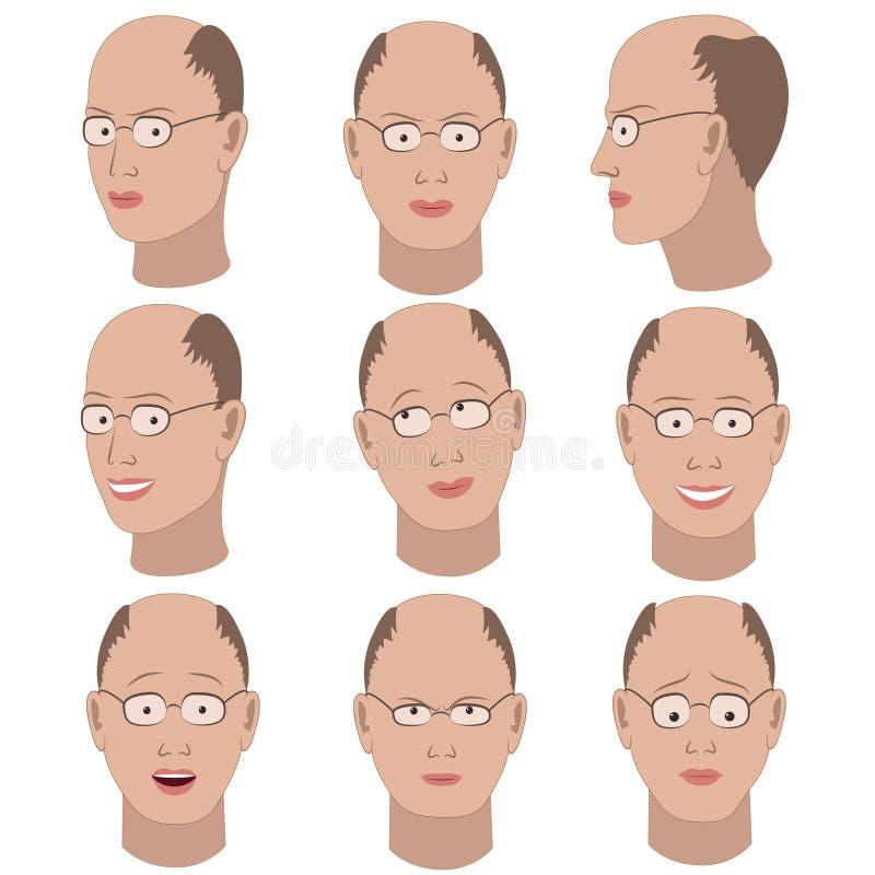 Ensemble de variation des émotions du même type chauve avec des verres illustration stock