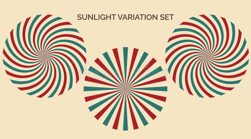 Ensemble de variation de lumière du soleil Bleu jaune rouge de lumière du soleil de résumé et fond de couleurs vertes Style d illustration libre de droits