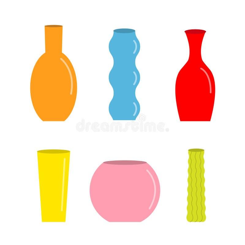 Ensemble de vase Icône colorée mignonne Calibre en verre de d?coration de fleur de poterie en c?ramique Fond blanc D'isolement Co illustration libre de droits