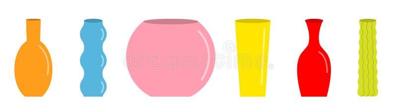 Ensemble de vase Ligne colorée mignonne d'icône Calibre en verre de décoration de fleur de poterie en céramique Fond blanc D'isol illustration stock