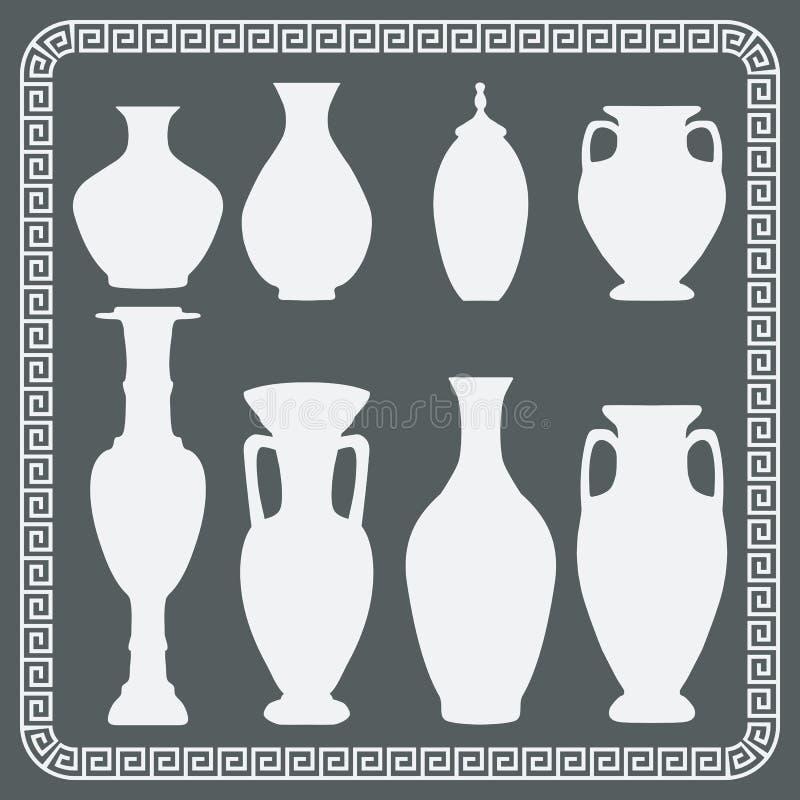 Ensemble de vases antiques illustration de vecteur