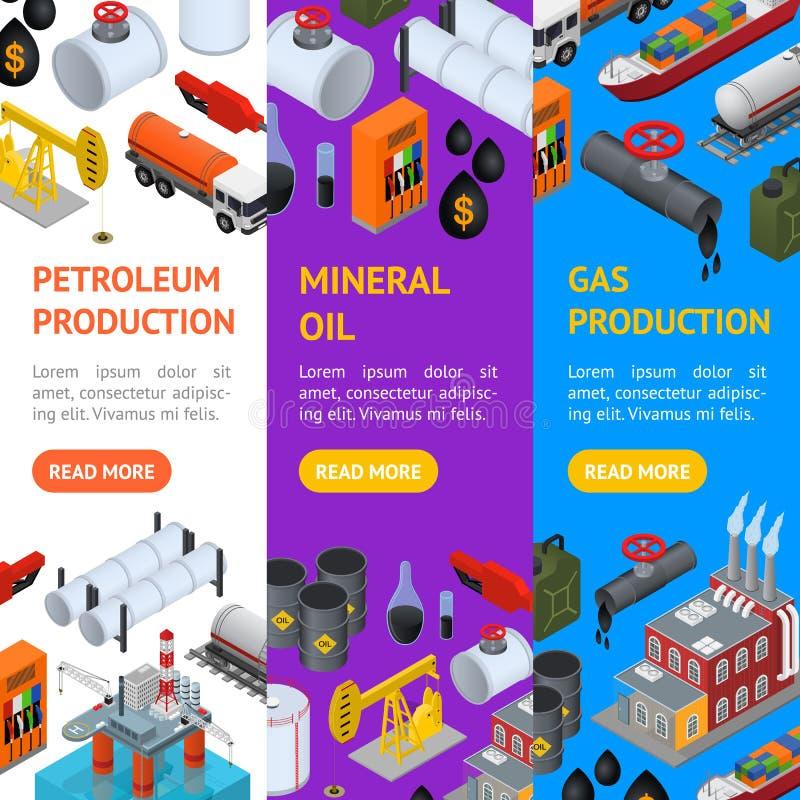 Ensemble de Vecrtical de bannière d'industrie pétrolière et de ressource énergétique Vecteur illustration de vecteur