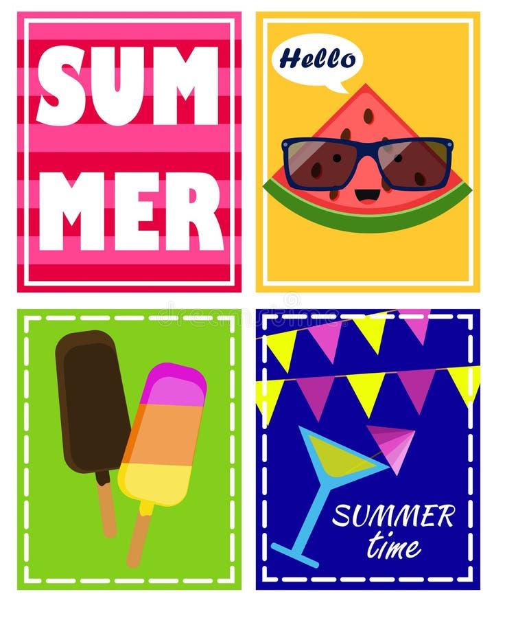 Ensemble de vecteur, affiches d'été avec la crème glacée, texte, pastèque, été de petit pâté, cocktail illustration stock