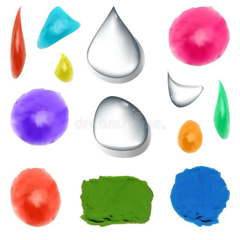 Ensemble de VECTEUR de baisses réalistes d'aquarelle différente de couleurs, de calomnies de peinture et de baisses transparentes illustration stock