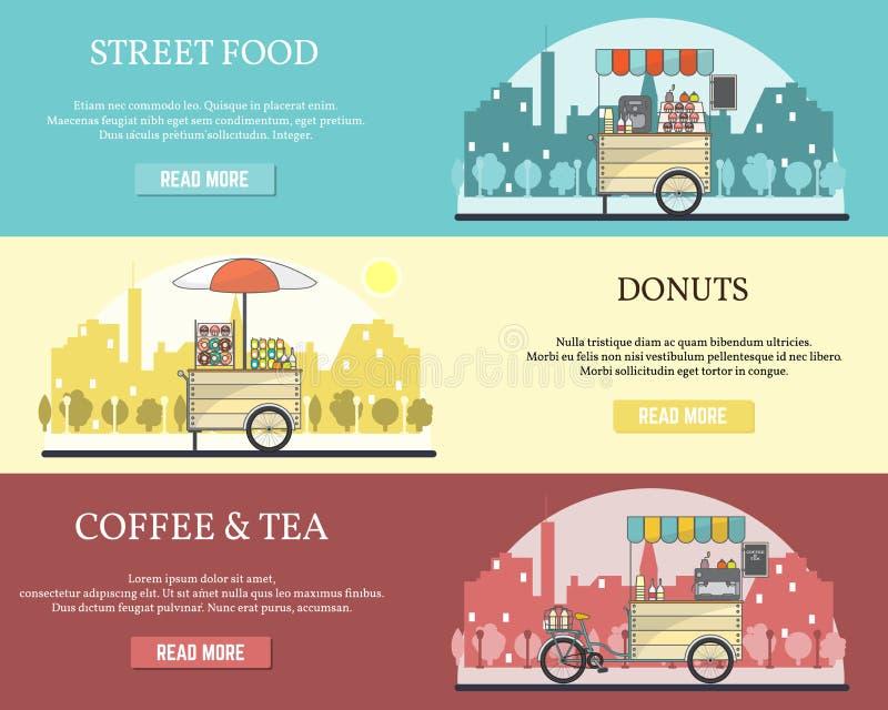 Ensemble de vecteur de bannières horizontales de vélo de nourriture de rue de tricycle illustration libre de droits