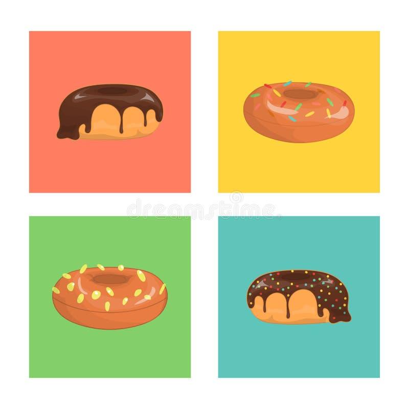 Ensemble de vecteur de beignets colorés illustration stock