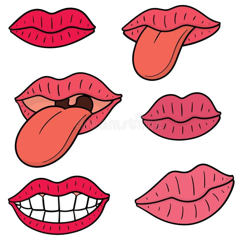 Ensemble de vecteur de bouche et de langue illustration stock